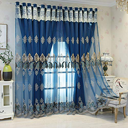 DANADESK 1 PC Jacquard Blackout Curtain Drape, Double Layer Voile Sheer Embroidered Window Curtains for Bedroom Living Room (Color : Blue Grommet, Size : 340x270c/133x106in)