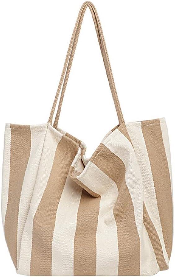 Ladies Denim Hobo Shoulder Bag Ladies Canvas Stripe Tote Bag Large Large Capacity Designer Handbag Work Pocket Canvas Stripe Daily Purse Canvas Stripe Gym Shoulder Bag Travel Bag (Apricot wide stripes)