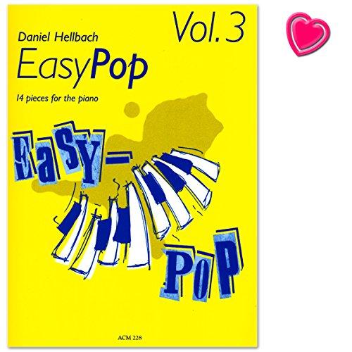 EasyPop 3 - 14 Stüke für Klavier von Daniel Hellbach - Notenheft mit bunter herzförmiger Notenklammer