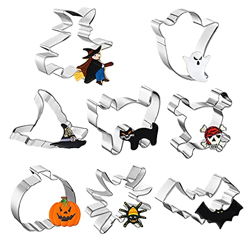 GOOUIE 8pcs Halloween Cookie Cutters Set, Stainless Steel Metal Biscuit Mold for Baking-Pumpkin, Witch, Ghost, Cat and More Shapes, Holiday Cookie Cutters for Party Treat Decoration
