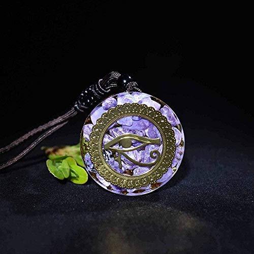 quanjiafu Collar 30 Mm Piedra Natural Cuarzo Colgante De Cristal Blanco Péndulo Flor De La Vida Colgantes 7 Chakra Péndulo Collar Longitud De Cadena 45Cm Collar Collar