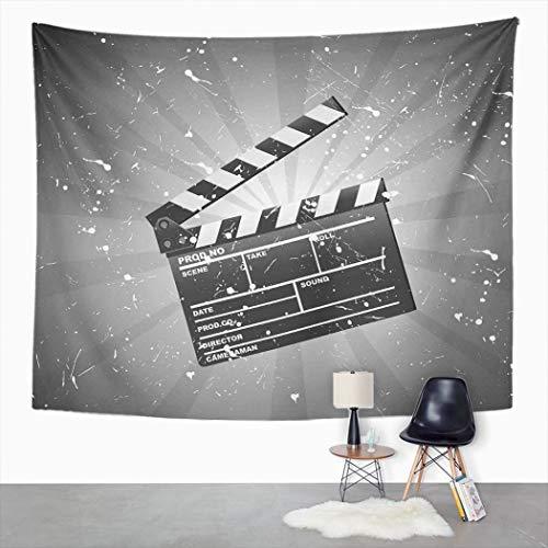 Y·JIANG Tapiz de clapper, tablero de cine, blanco, negro, gris, para dormitorio del hogar, tapices grandes, manta para colgar en la sala de estar, dormitorio, 60 x 50 pulgadas
