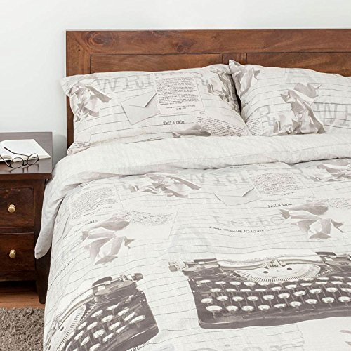 HOMESCAPES Parure de lit Housse de Couette et taie d'oreiller imprimé Style Vintage - 230 x 220 cm