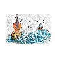 KPIDWEDS 水彩画ヴァイオリン 1000ピース ジグソーパズル 飾り画 おしゃれ 木製 おもちゃ 知育減圧 推奨年齢7歳以上 (50x75cm)