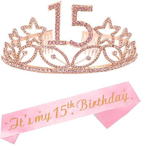 15th Birthday Gifts for Girl, 15th Birthday Tiara and Sash Pink, Happy 15th Birthday Party Supplies, 15 & Fabulous Glitter Satin Sash, Quinceanera Sash Birthday Crown for 15th Birthday Party Supplies