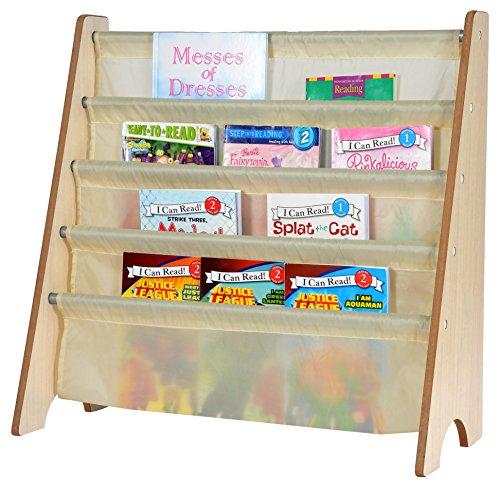 Naomi Home Kids Toy Sling Book Rack, Cream/Natural