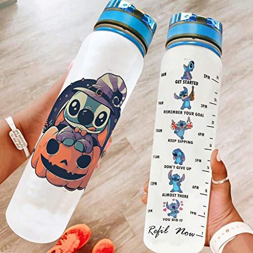 Hothotvery Botella deportiva impresa divertida con marcas de café, botella de deporte, sin BPA, 1 l, sostenible, para camping, color blanco, 1000 ml