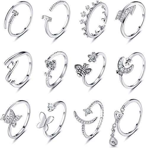 LOLIAS 12Pcs Women's Open Rings Set Plain Band Star Moon Rings Flower Bohemian Midi Rings Crown Fashion Finger Vintage Stackable Rings Toe Rings Set Adjustable Eternity Bands for Women