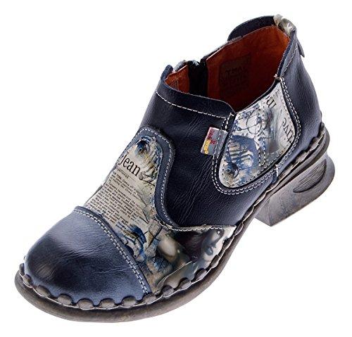 TMA Damen Leder Comfort Knöchel Schuhe 5195 Halb Schuhe Schwarz-Grau Blockabsatz Boots Gr. 40