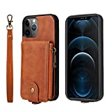 HAII for iPhone 12 Pro Max Case,PU Leather Magnetic Buttons Card Pockets Back Flip Wallet Shockproof Protective Cover for iPhone 12 Pro Max 6.7 inch (Brown)