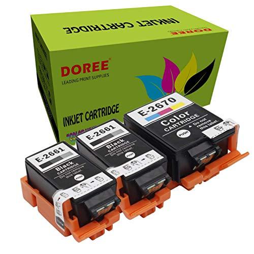 Doree T2661/2670 para Epson WorkForce WF-100W, WF 100 (W), WF100, WF100W (2 negro y 1 color)