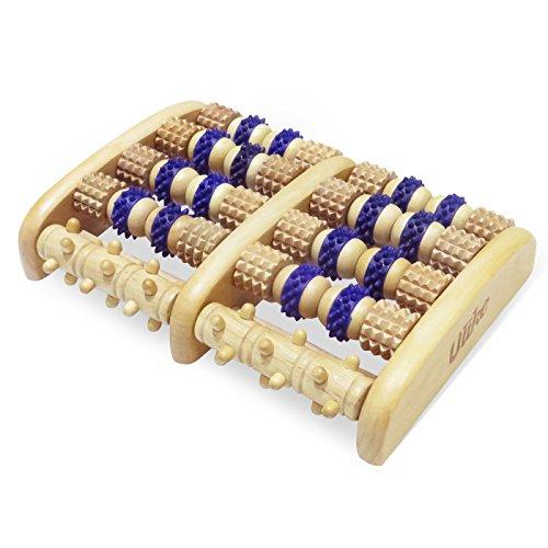 ULIKE Holz Roller Fuß Massagegerät Reflexzonenmassage Werkzeuge für Fußschmerzen, juckende Füße Relief und freies Geschenk - Thai Fuß Massage Stick und Fuß Reflexologie Diagramm