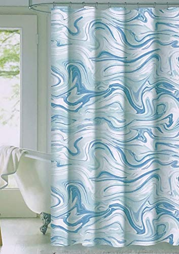 Envogue Designer Shower Curtain Wavy Abstract Pattern in Shades of Blue White Light Green 100% Cotton Luxury - Carrara, Seafoam
