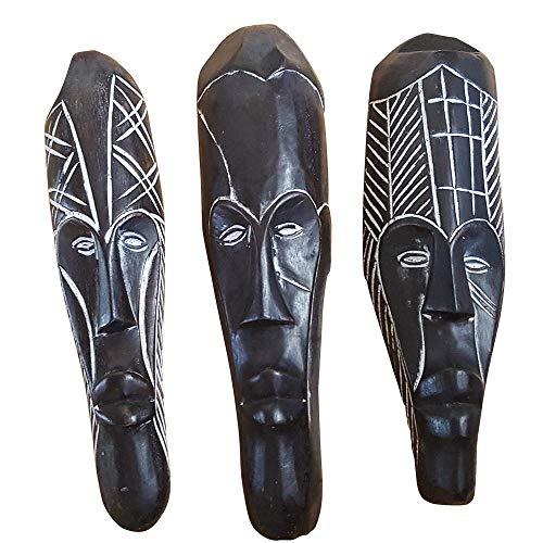 NOVARENA African Art Cameroon Gabon Fang Wall Masks and Sculptures - Africa Home Mask Decor (3 Pc Set of Black 12 Inch Fang Masks)
