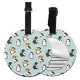 Juego de etiquetas para maleta con diseño de pingüinos para patinaje artístico, accesorios de viaje, etiquetas redondas para equipaje Negro Negro 4 PCS