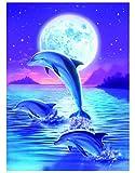 DIY 5D Peinture en Diamant Kits de,Tête de mort en strass à broder au point de croix Arts Travaux manuels Pour toile Décoration dauphin 30x40cm