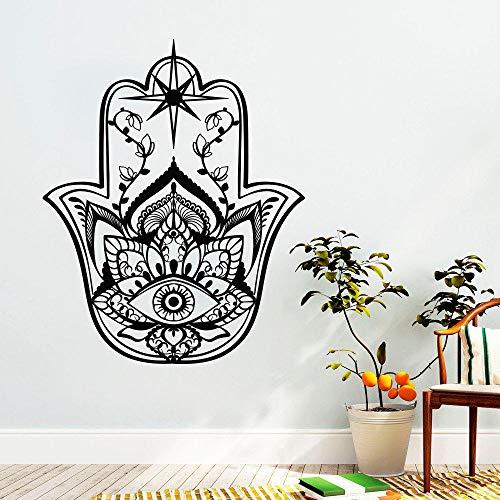 LovelyHomeWJ Etiqueta de la Pared de Hamsa Patrones de Loto Oriental Etiqueta de la Pared Inicio Yoga Estudio Decoración Fátima Manos Vinilo Pegatinas de Pared Diseño Yoga Art 57x70cm