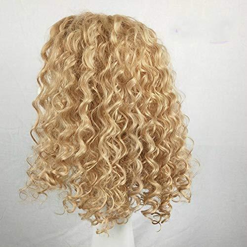 Perruque courte bouclée perruque perruque petit rouleau tête explosive couverture de tête en fibre chimique doré