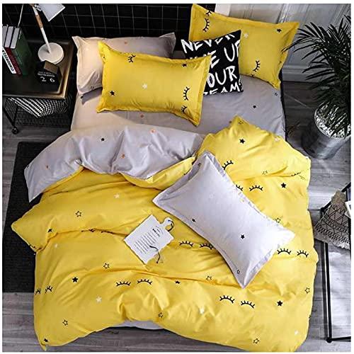 QWEAASD Große Augen Minions Kissenbezug Größe Cartoon Bettwäsche-Sets Bettbezug-Set Kissenbezug Faltblatt King Queen Size Twin-Double 4pcs 180x220