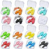 16 Pares Tapones de Oídos de Silicona Suaves Impermeables Tapones de Oídos de Reducción de Ruido de Color Reutilizables con Bloqueo de Sonido con Caja para Aviones Concierto Dormir, 9 Colores