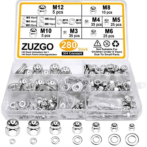 ZUZGO Hutmuttern Set Sechskantmuttern mit Flach Unterlegscheiben 304 Edelstahl Kontermutter Dome Kopf Stopmuttern Secheskant Hutmutter M3 M4 M5 M6 M8 M10 M12(280 Stück)