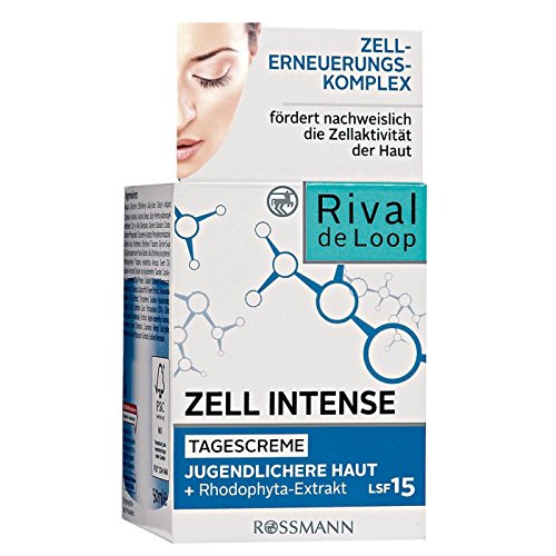 Rival de Loop Zell Intense Tagescreme 50 ml jugendlichere Haut, Zellerneuerungs-Komplex, fördert nachweislich die Zellaktivität der Haut + Rhodophyta-Extrakt, LSF 15