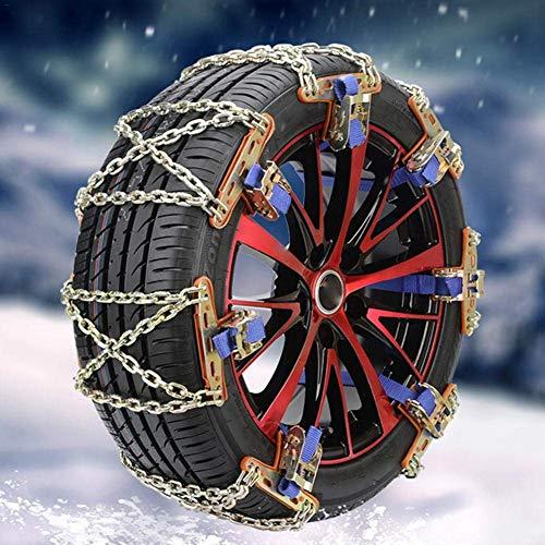 BUSUANZI Cadena de nieve para coche Neumático de invierno Carretera Seguridad Neumáticos Cadenas de nieve Acero Inoxidable X-chain Antideslizante Cadena de emergencia para Coche Camión SUV