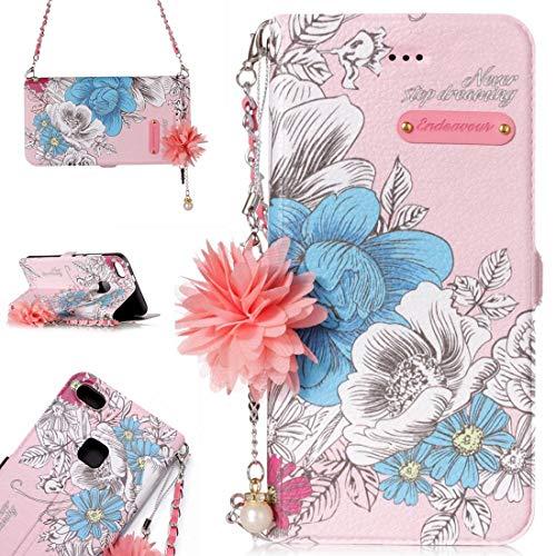 para Cajas de Cuero. DJM para Huawei P10 Lite Daisy Flower Poder Horizontal Funda de Cuero con Soporte y Ranuras para Tarjetas y Adornos y Cadenas de la Flor de la Perla (Color : Color5)