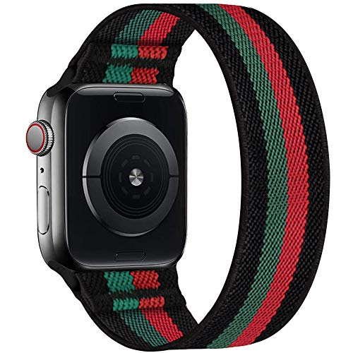 ENJINER Stretchy Nylon Solo Loop Bands Compatible with Apple Watch 38mm 40mm 42mm 44mm iWatch Series 6 SE 5 4 3 2 1 Strap, Sport Elastic Braided No Buckles Clasps Women Men, 38/40mm S Green Red Stripe