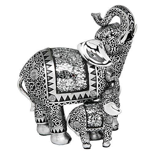 Elefante d'antiquariato con il suo cucciolo in argento da 20,5 cm