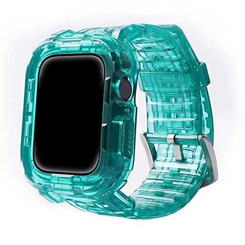 CHENPENG Correa Compatible con Apple Watch 1/2/3/4/5/6 Correa Deportiva Transparente de Resina con Funda Protectora Resistente para Hombres y Mujeres Premium Soft,8,42mm