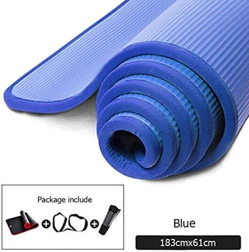 Baibao Yoga Mat Non Slip Spessore Resistente allo Strappo Fitness Gym Mats Sport Ginnastica Pilates Pad con Yoga Mat Bag amp Strap (Color : Blue, Size : 1m)