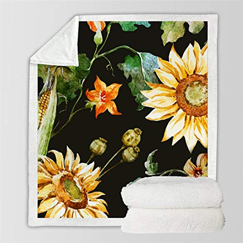 WUCHONGSHUAI 3D Printed Blanket,Painted Sun Flower Pattern Square Fleece Throw Blanket 3D Plush Blanket For Kids Boys Men Fuzzy Blanket For Home Bed Sofa Blanket,70×100Cm/27.5×39.4Inch