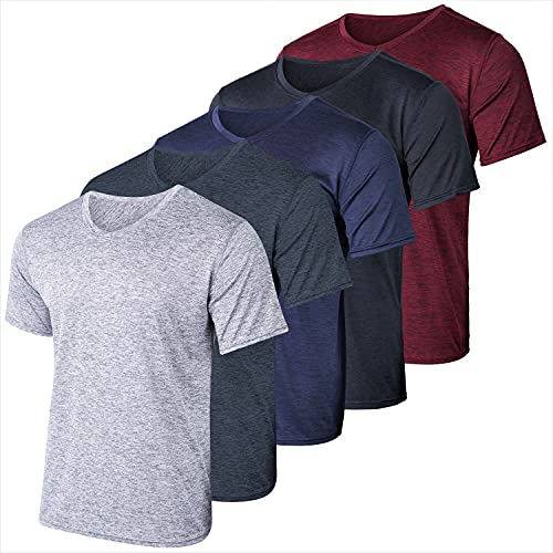 5 Pack:Men's Athletic V Neck T-Shirt Quick Dry Fit Dri-Fit Short Sleeve Active Wear Training Exercise Fitness Workout Tee Fitness Gym Workout Clothing Undershirt Sports Wicking Top-Set 1,XL