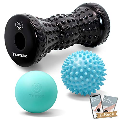 Tumaz Massage Ball & Foot Roller 3-in-1 Set with Spiky Ball, Lacrosse Ball, Massage Roller - Ergonomic Design to Relieve Plantar Fasciitis, Deep and Superficial Muscle Pain