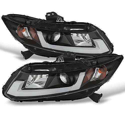 ACANII - For 2012-2015 Honda Civic Sedan 12-13 Coupe LED DRL Tube Projector Headlights Headlamps, Driver & Passenge Side