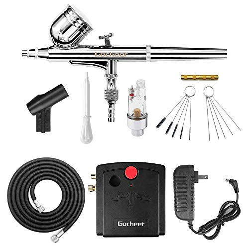Gocheer Mini Airbrush Kit, Dual-Action Air Brush Pen Gravity Feed Airbrush...