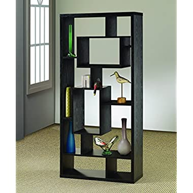 Coaster Transitional Black Oak Asymmetrical Cube Bookcase with Shelves