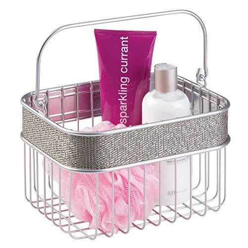mDesign Aufbewahrungskorb zur Ordnung von Schminkprodukten, Make-Up und Duschutensilien, Ideal fürs Bad - Metall 17cm x 17cm x 15cm