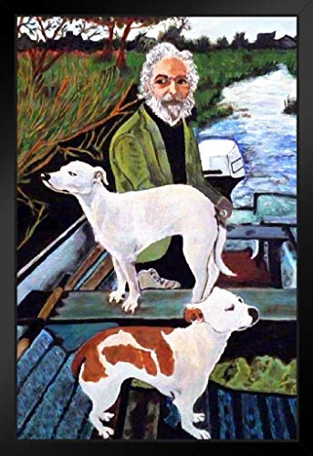 Man in Boat with Dogs Movie Painting Black Wood Framed Art Poster 14x20