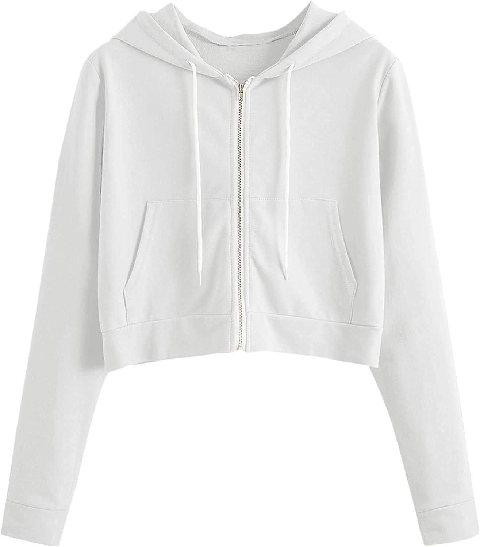 ROMWE Women's Spring Casual Long Sleeve Zip Up Drawstring Hoodie Sweatshirt Top