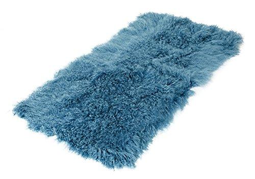Tibet Lammfell Teppich 60x120cm (große Farbauswahl) Farbe blau JAY20 TP1