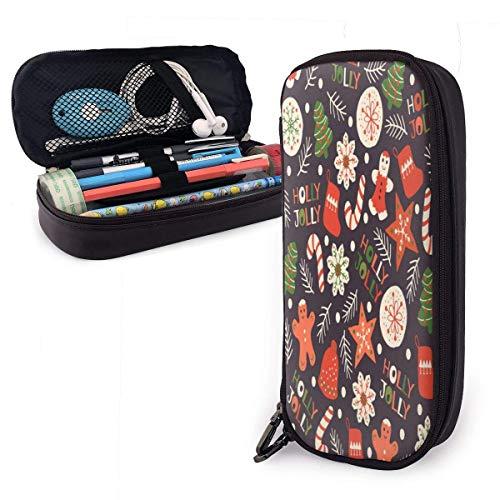 Weihnachtsplätzchen Nahtloses Muster Leder Bleistiftetui Kosmetiktasche mit großer Kapazität Stifttasche mit Reißverschluss Praktische Schreibwarenhalter-Tasche für das Schulbüro
