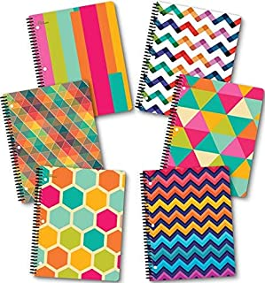 NEW GENERATION – Chevron – Fashion Wire Bound Spiral Notebooks, Wide Ruled 1 Subject 70 Sheets, 8 x 10.5 inches, 3 Hole Punch Perforated Sheets – 6 Pack Set Great for School, Home,