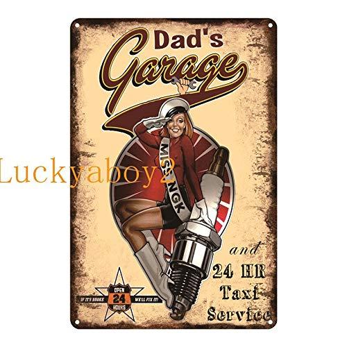 Ami0707 Plaque Vintage Vintage Shed Metal Sign Plaque My Garage My Rules Dad's GARAGE Retro Metal Tin Sign Car Repair Man Cave Wall Art Decor 20x30cm SW335