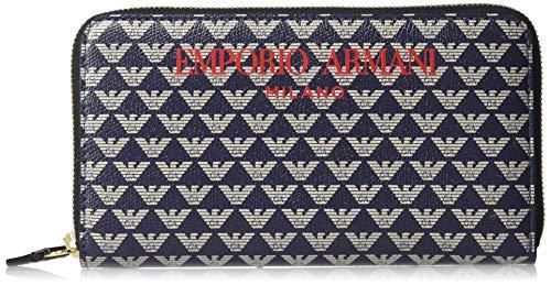 Emporio Armani vrouwen Designer Rits rond Logo Patroon Lederen Portemonnee
