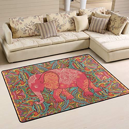 Ahomy Teppich mit Elefantenmotiv, rutschfeste Fußmatte für Schlafzimmer, 91,4 x 61 cm, Multi, 91 x 61 cm