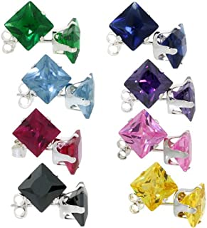Sterling Silver 7mm Princess Cut CZ Stud Earrings Assorted Birthstone Colors 4 carat/pr