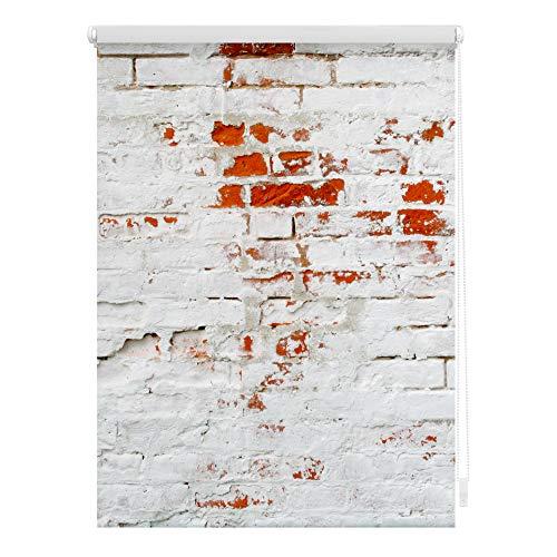 Lichtblick KRT.100.150.333 Rollo Klemmfix, ohne Bohren, Blickdicht, Mauer - Weiß Rot 100 x 150 cm (B x L)