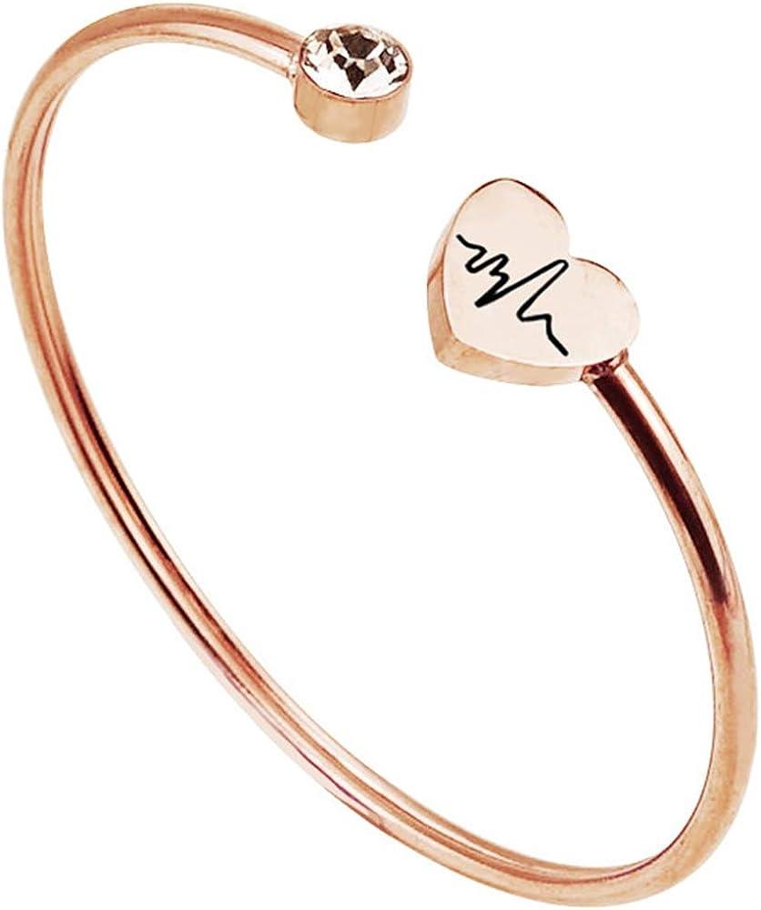 Jude Jewelers Stainless Steel Heart Shaped Cardiogram Pattern Open Cuff Bangle Bracelet